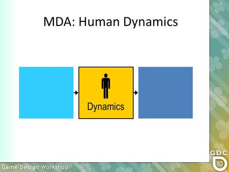  Dynamics MDA: Human Dynamics. Where does the player fit into MDA? MDA is a cognitive approach. There are other approaches.