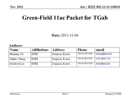 Doc.: IEEE 802.11-11/1489r0 Submission Nov. 2011 Heejung Yu, ETRISlide 1 Green-Field 11ac Packet for TGah Date: 2011-11-06 Authors: