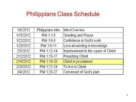 1 Philippians Class Schedule. 2 Philippians1:18-20 Christ is Proclaimed 18 What then? Only that in every way, whether in pretense or in truth, Christ.