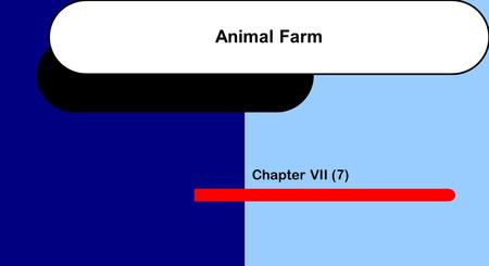 Animal Farm Chapter VII (7). 1. Why did the hard frost cause difficulties for the animals? The ground was frozen and the quarry was full of snow so nothing.