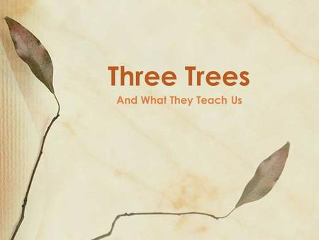 And What They Teach Us Three Trees. Tree #1 the Garden, in Eden the tree of the knowledge of good and evil (Gen 2.9, 17) ◦ the tree served as God's way.