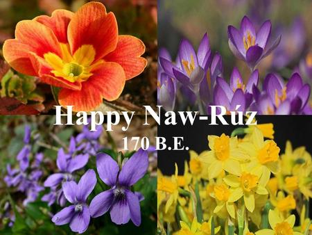 Happy Naw-Rúz 170 B.E. The Bahá'í New Year, like the ancient Persian New Year, is astronomically fixed, commencing at the March equinox (usually March.
