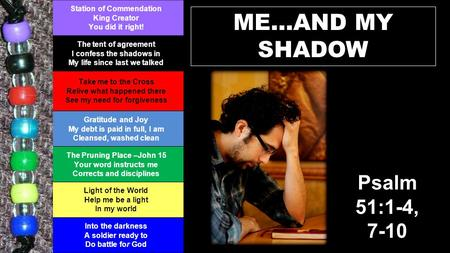 ME…AND MY SHADOW Station of Commendation King Creator You did it right! The tent of agreement I confess the shadows in My life since last we talked Take.
