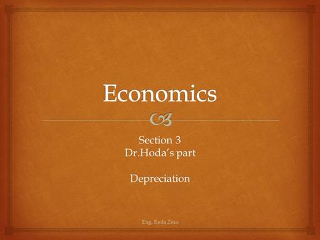 Section 3 Dr.Hoda's part Depreciation