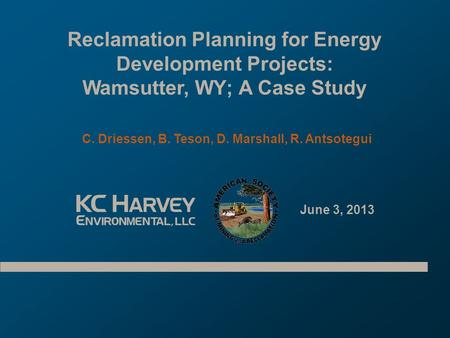 Reclamation Planning for Energy Development Projects: Wamsutter, WY; A Case Study C. Driessen, B. Teson, D. Marshall, R. Antsotegui June 3, 2013.