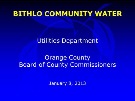 BITHLO COMMUNITY WATER Utilities Department Orange County Board of County Commissioners January 8, 2013.