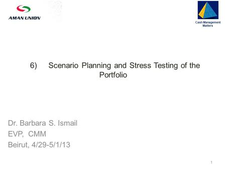 6)Scenario Planning and Stress Testing of the Portfolio Cash Management Matters 1 Dr. Barbara S. Ismail EVP, CMM Beirut, 4/29-5/1/13.