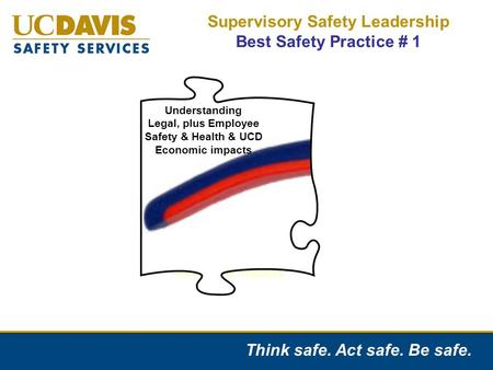 Think safe. Act safe. Be safe. Supervisory Safety Leadership Best Safety Practice # 1 Understanding Legal, Employee Safety/Health & Economic impacts Understanding.