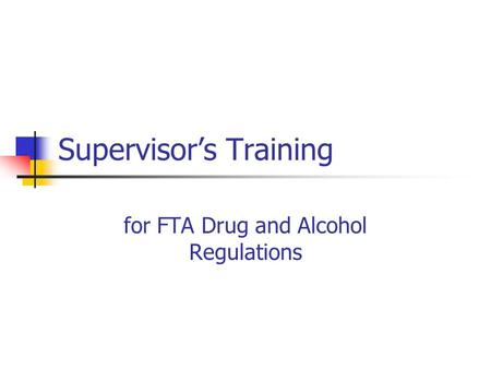 Supervisor's Training
