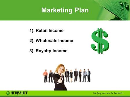 Marketing Plan 1). Retail Income 2). Wholesale Income