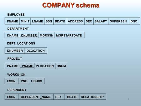 1 COMPANY schema EMPLOYEE DEPARTMENT DEPT_LOCATIONS PROJECT WORKS_ON DEPENDENT FNAME MINIT LNAME SSN BDATE ADDRESS SEX SALARY SUPERSSN DNO DNAME DNUMBER.