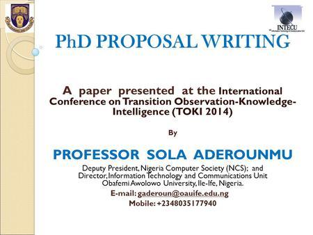 Writing a PhD Proposal