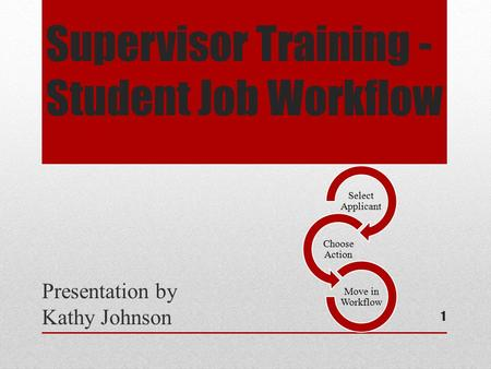 Supervisor Training - Student Job Workflow Presentation by Kathy Johnson Select Applicant Choose Action Move in Workflow 1.