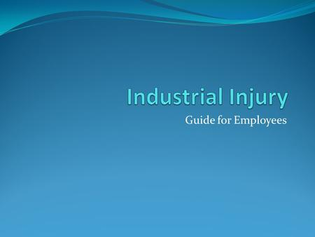 Guide for Employees. What is An Industrial Injury? This includes but may not be limited to: Accidents Injuries Exposures to harmful materials Occupational.