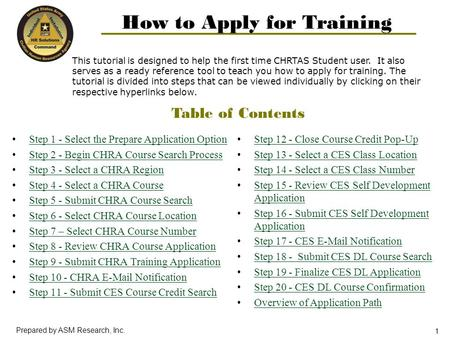 1 Prepared by ASM Research, Inc. This tutorial is designed to help the first time CHRTAS Student user. It also serves as a ready reference tool to teach.