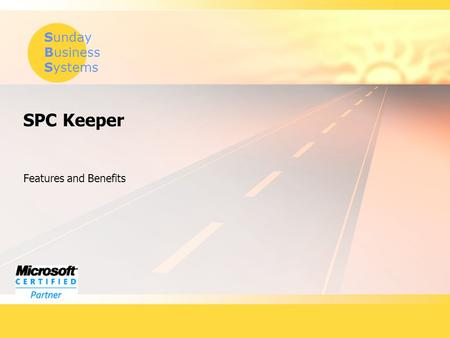 Sunday Business Systems SPC Keeper Features and Benefits.