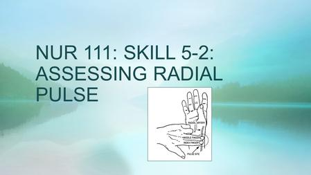 NUR 111: SKILL 5-2: ASSESSING RADIAL PULSE. ASSESSING RADIAL PULSE  The strength or amplitude of a pulse reflects the volume of blood ejected against.