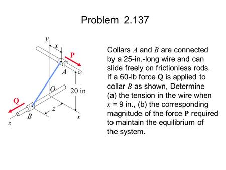 Problem y x Collars A and B are connected P
