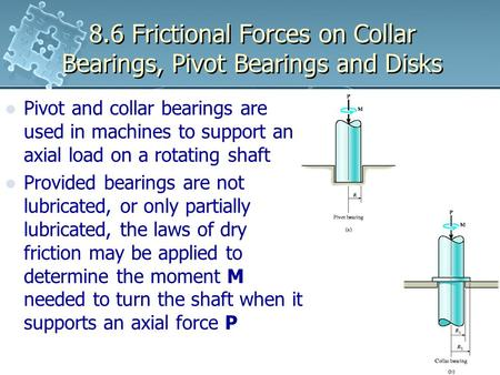8.6 Frictional Forces on Collar Bearings, Pivot Bearings and Disks Pivot and collar bearings are used in machines to support an axial load on a rotating.