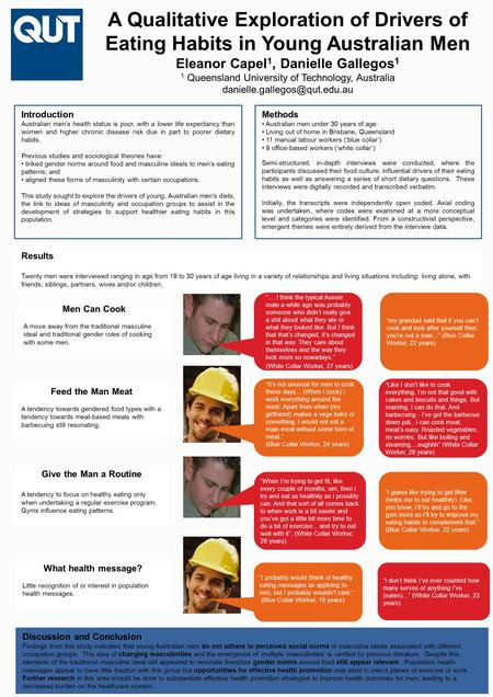 A Qualitative Exploration of Drivers of Eating Habits in Young Australian Men Eleanor Capel 1, Danielle Gallegos 1 1 Queensland University of Technology,