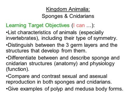 Kingdom Animalia: Sponges & Cnidarians