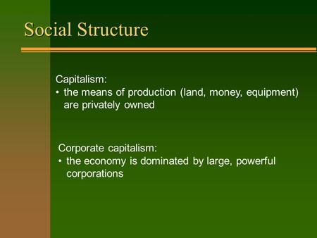Social Structure Capitalism: the means of production (land, money, equipment) are privately owned Corporate capitalism: the economy is dominated by large,