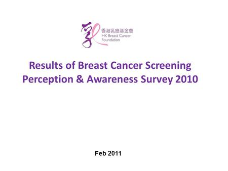 Results of Breast Cancer Screening Perception & Awareness Survey 2010 Feb 2011.