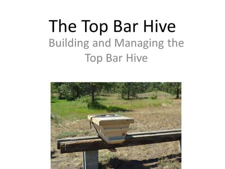 The Top Bar Hive Building and Managing the Top Bar Hive.