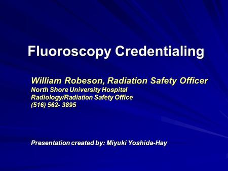 Fluoroscopy Credentialing