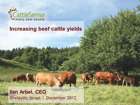 Increasing beef cattle yields 1 Ilan Arbel, CEO Shefayim, Israel | December 2012.