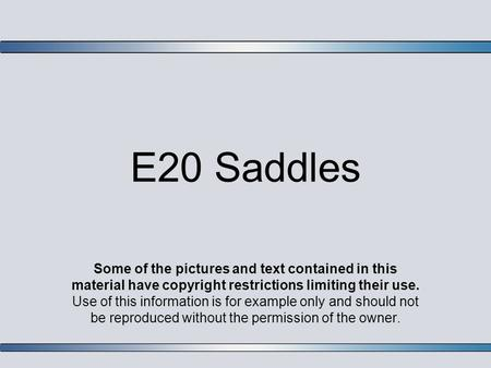 E20 Saddles Some of the pictures and text contained in this material have copyright restrictions limiting their use. Use of this information is for example.