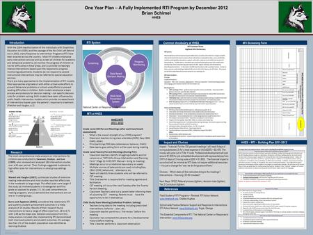 POSTER TEMPLATE BY: www.PosterPresentations.com One Year Plan – A Fully Implemented RTI Program by December 2012 Brian Schimel HHES Impact and Choices.