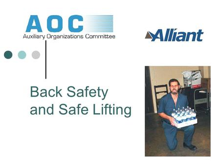 Back Safety and Safe Lifting. Back safety Learning goals: Understand anatomy and balance (how your back works) Learn safe body mechanics (lifting, standing,