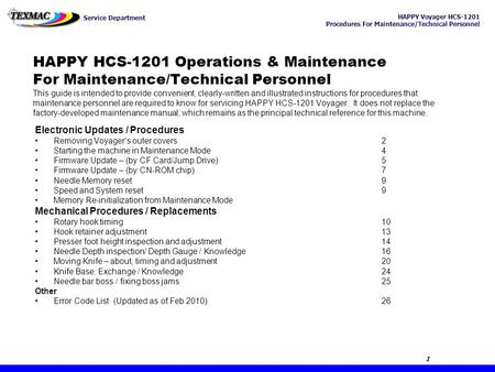 HAPPY HCS-1201 Operations & Maintenance For Maintenance/Technical Personnel This guide is intended to provide convenient, clearly-written and illustrated.