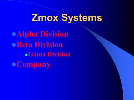 Zmox Systems Alpha Division Beta Division Gama Division Company.