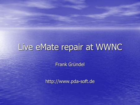 Live eMate repair at WWNC Frank Gründel