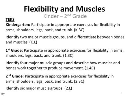 TEKS Kindergarten: Participate in appropriate exercises for flexibility in arms, shoulders, legs, back, and trunk. (K.3C) Identify two major muscle groups,