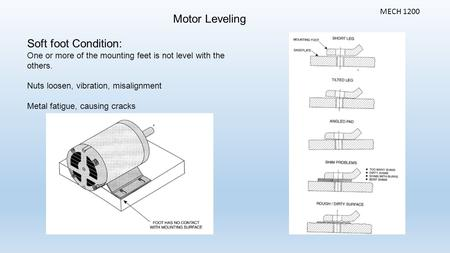 Motor Leveling MECH 1200 Soft foot Condition: One or more of the mounting feet is not level with the others. Nuts loosen, vibration, misalignment Metal.