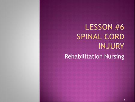 Rehabilitation Nursing 1. 2  Mutual understanding of level of spinal cord injury determined in 1983 and redone in 1992  American Spinal Cord Injury.