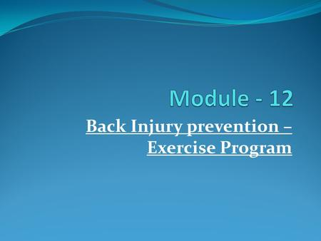 Back Injury prevention – Exercise Program. Key Points to start an exercise regime Correct Interpretation of Physical examination and diagnostic findings.