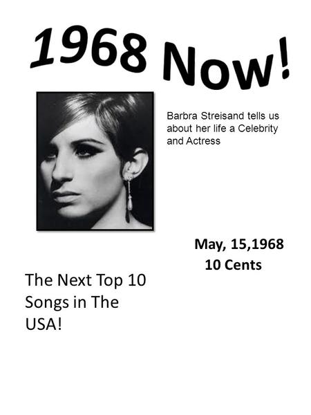 Barbra Streisand tells us about her life a Celebrity and Actress The Next Top 10 Songs in The USA! May, 15,1968 10 Cents.