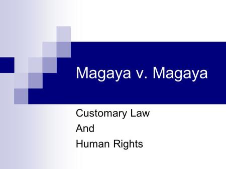 Customary Law And Human Rights