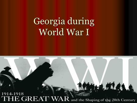 Georgia during World War I. SS8H7d: Give reasons for World War I and describe Give reasons for World War I and describe Georgia's contribution.