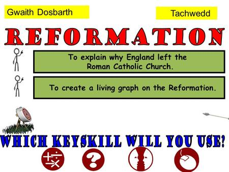 To create a living graph on the Reformation. To explain why England left the Roman Catholic Church. Gwaith Dosbarth Tachwedd.