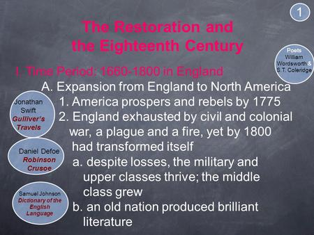 The Restoration and the Eighteenth Century I. Time Period: 1660-1800 in England A. Expansion from England to North America 1. America prospers and rebels.