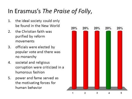 In Erasmus's The Praise of Folly, 1.the ideal society could only be found in the New World 2.the Christian faith was purified by reform movements 3.officials.