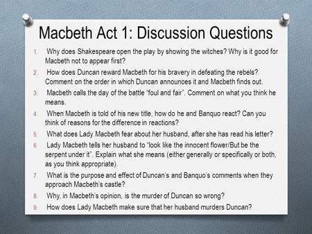 essay questions for macbeth act 5