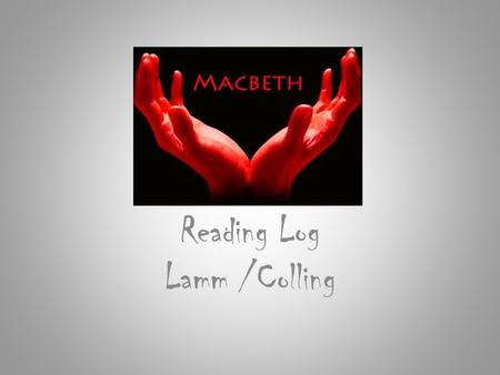 Reading Log Lamm /Colling