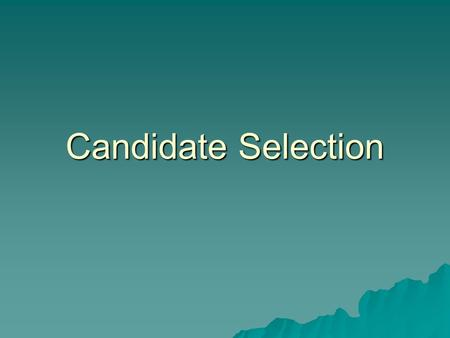 Candidate Selection. Personnel Process 1. Development of the job description 2. Creation of the job announcement 3. Candidate recruitment 4. Candidate.
