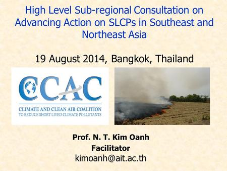 Prof. N. T. Kim Oanh Facilitator High Level Sub-regional Consultation on Advancing Action on SLCPs in Southeast and Northeast Asia 19.
